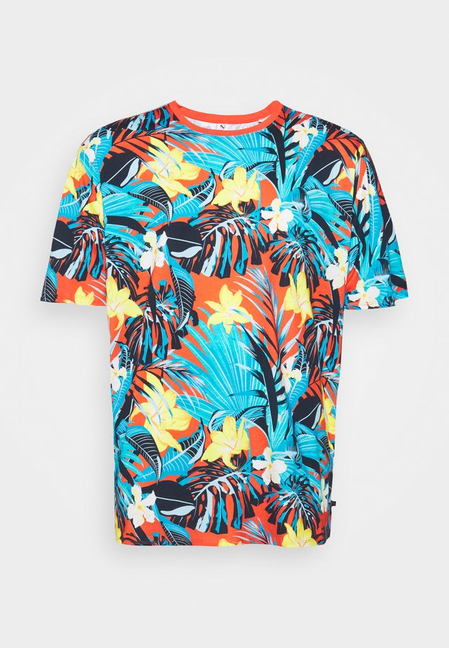 FLOWER TEE  - T-shirts med print - rot