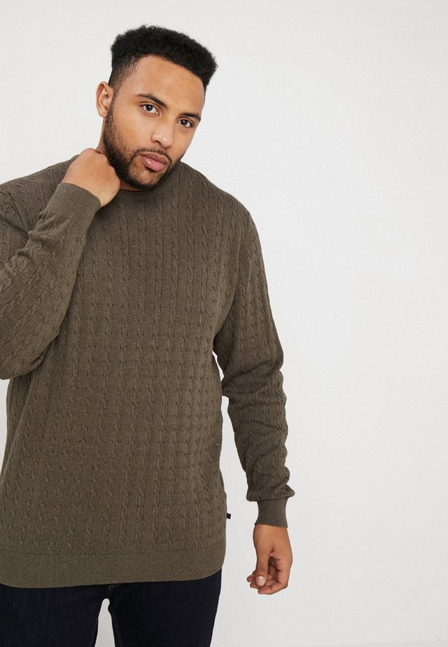 O NECK CABLE - Strickpullover - khaki