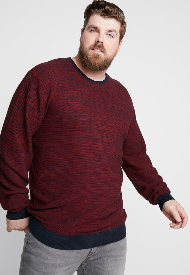 TEXTURED O NECK - Strickpullover - red
