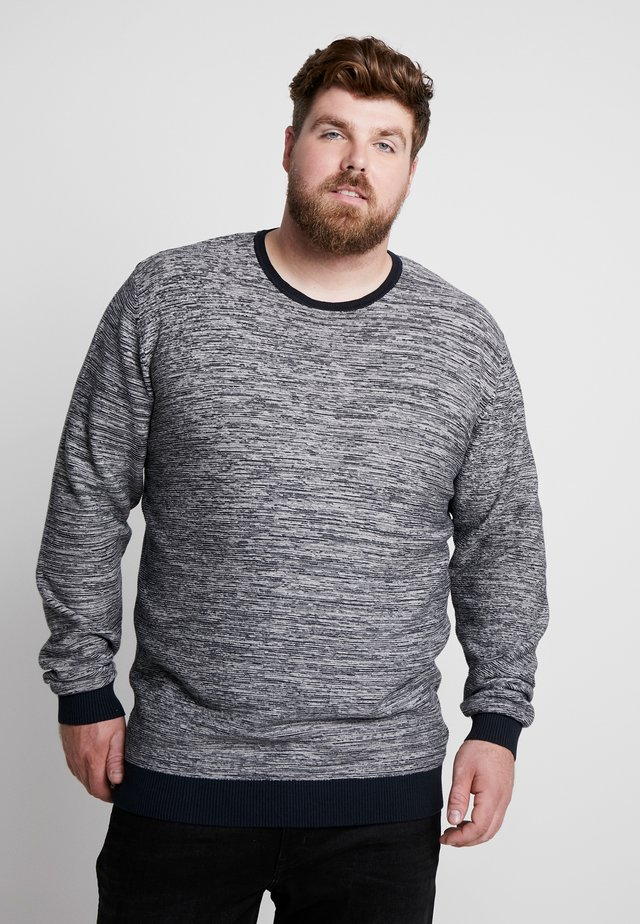 TEXTURED O NECK - Strickpullover - navy