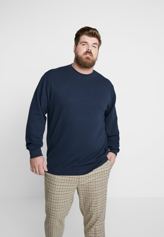 STRUCTURE NECK SWEATSHIRT - Strickpullover - navy