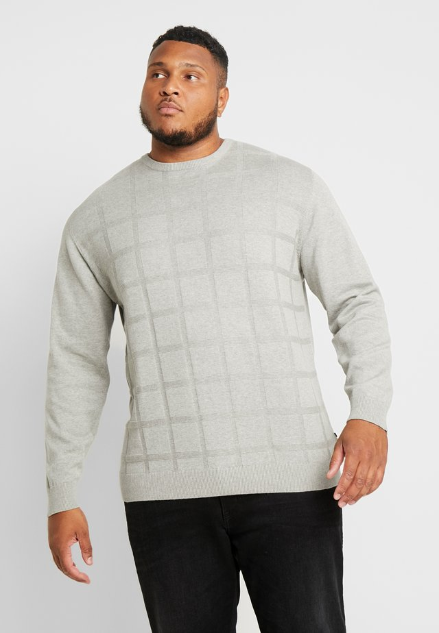 GEOMETRIC PATTERN O-NECK - Stickad tröja - grey melange