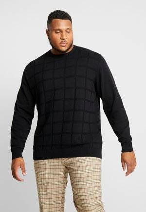 GEOMETRIC PATTERN O-NECK - Strickpullover - black