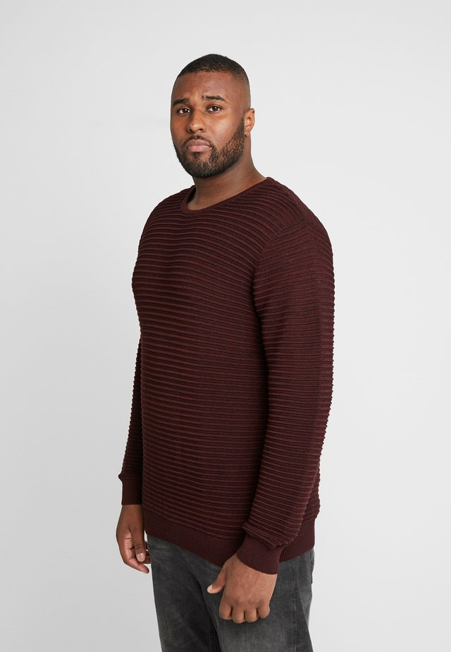 CREW NECK - Strickpullover - bordeaux