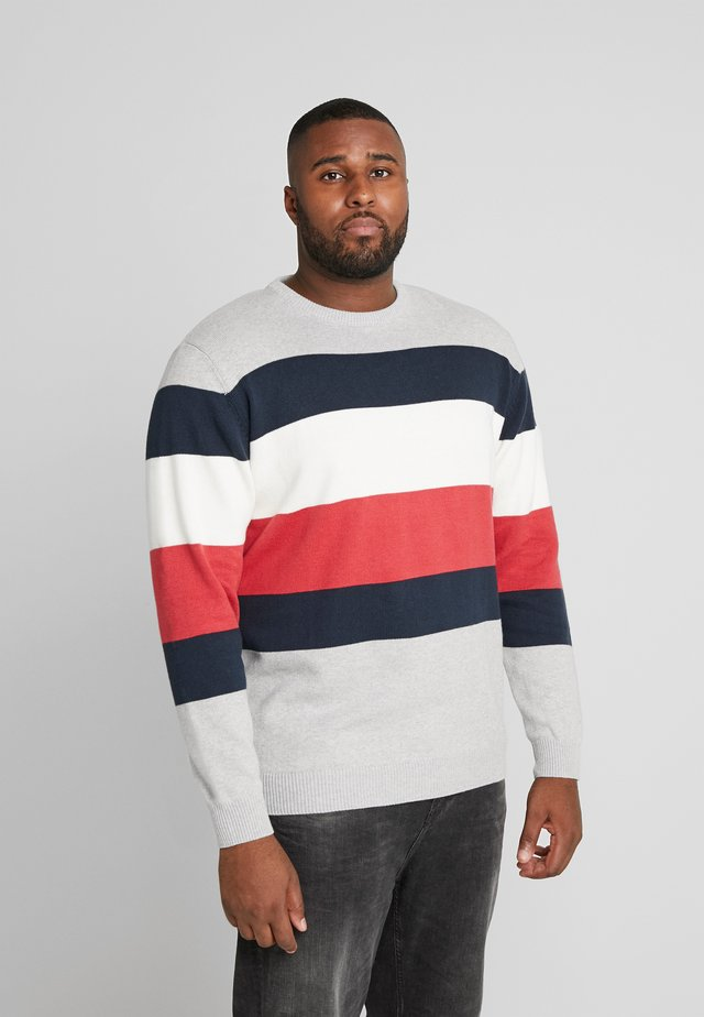 STRIPED ONECK - Strickpullover - grey melange