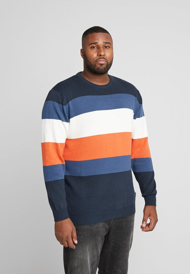 STRIPED ONECK - Strickpullover - navy