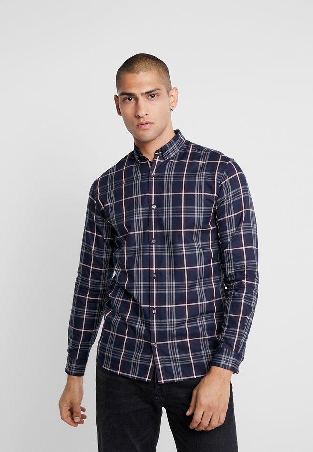 JPRFOCUS CHECK SLIM FIT - Shirt - navy blazer