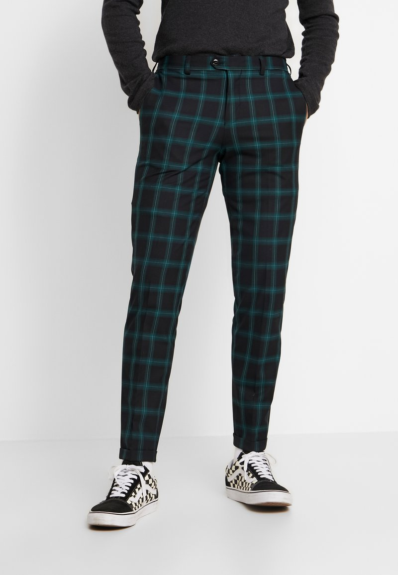 Jack & Jones PREMIUM - JPRSID TROUSER CHECK - Trousers - dark green