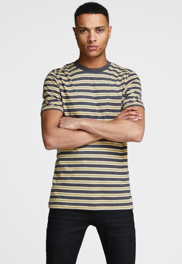 Jack & Jones PREMIUM - GESTREIFT  - Print T-shirt - light grey melange