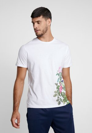 JPRLENX TEE CREW NECK - T-shirt med print - white