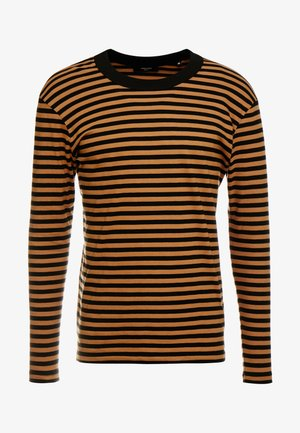 JPRHAGUE STRIPE TEE CREW NECK - T-shirt à manches longues - black/tobacco brown