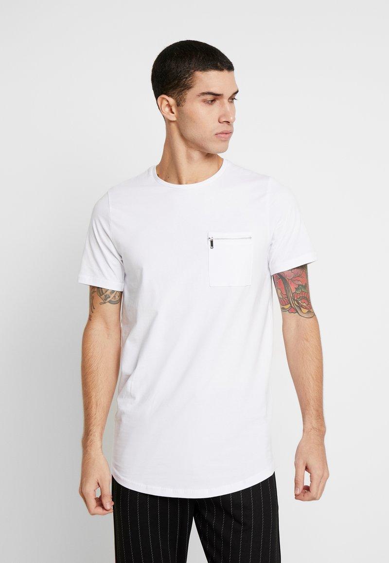 Jack & Jones PREMIUM - JPRSMART ZIP TEE CREW NECK - T-Shirt basic - white