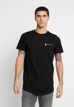 JPRSMART ZIP TEE CREW NECK - T-Shirt basic - black