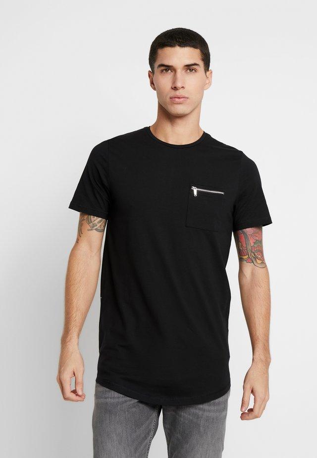JPRSMART ZIP TEE CREW NECK - T-shirt basic - black