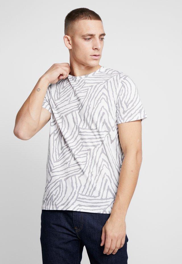 JPRSAVANNAH TEE CREW NECK - Triko spotiskem - blanc de blanc/light grey melange