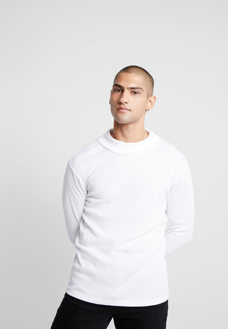 Jack & Jones PREMIUM - JPRLUTON LS TEE TURTLE NECK  - Long sleeved top - white