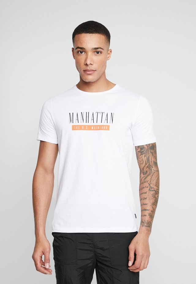 JPRSMART TEE CREW NECK - T-shirt print - white
