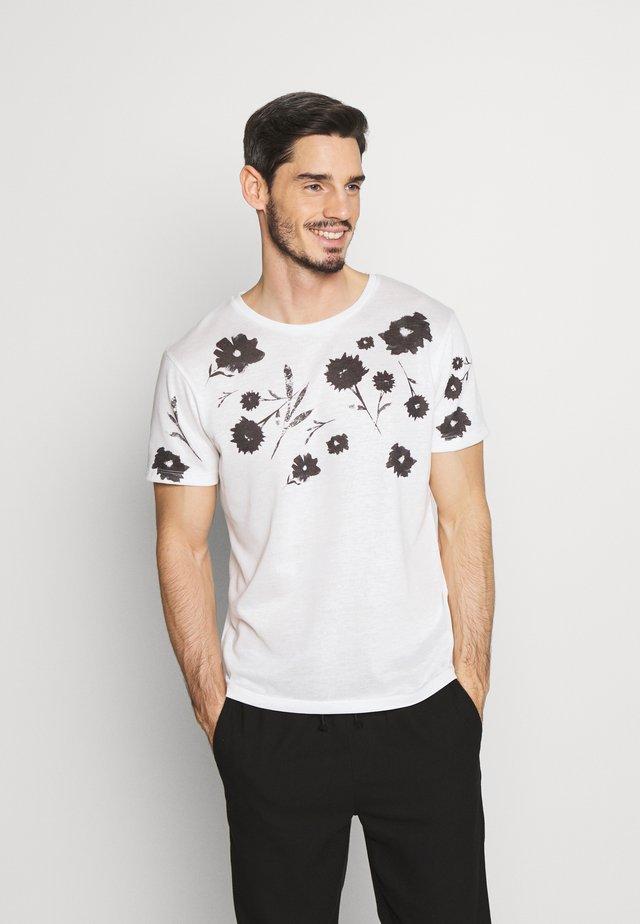 TIME TEE CREW NECK - T-shirt print - blanc de blanc