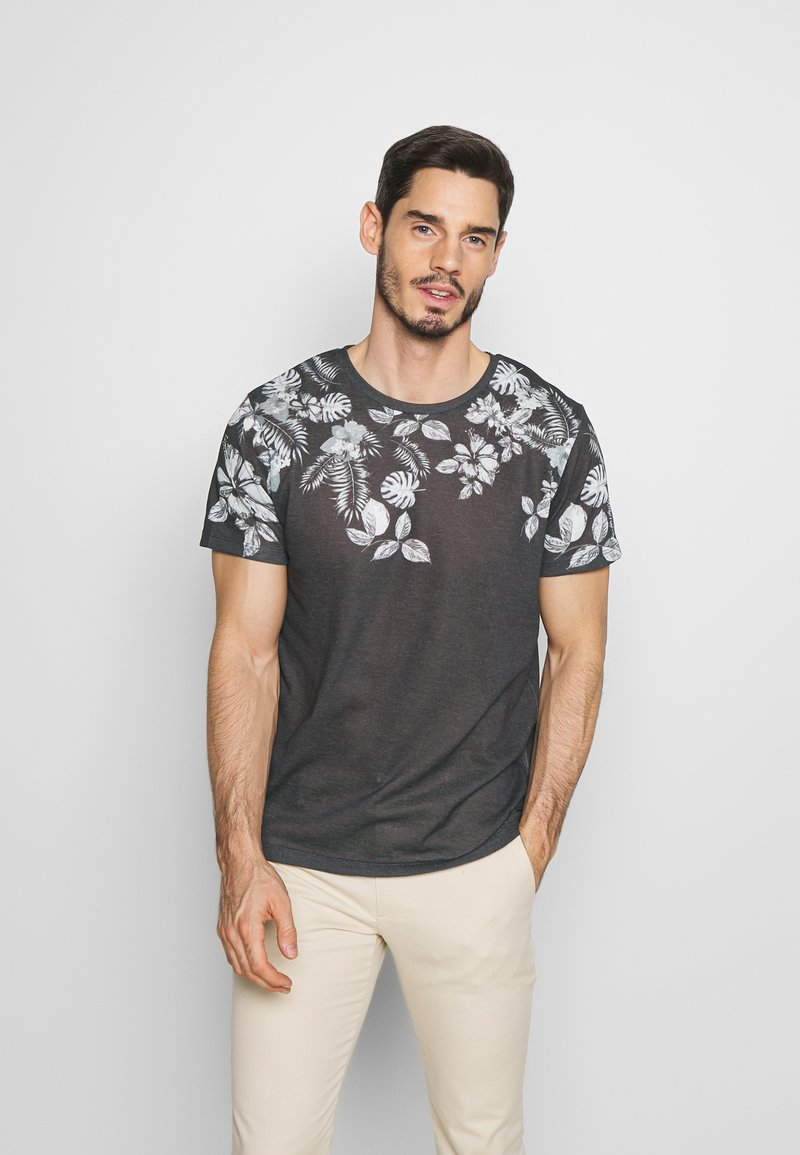 Jack & Jones PREMIUM - TIME TEE CREW NECK - Print T-shirt - dark grey