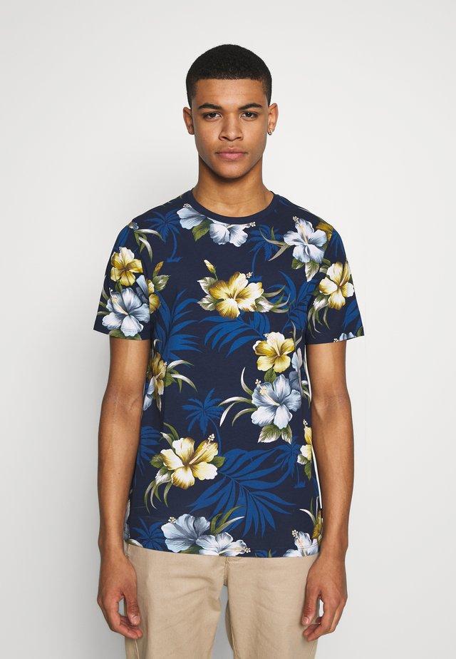 JPRDALE TEE CREW NECK SLIM FIT - T-shirt print - dark navy