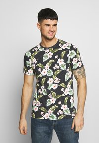Jack & Jones PREMIUM - JPRDALE TEE CREW NECK SLIM FIT - T-shirt med print - black - 0