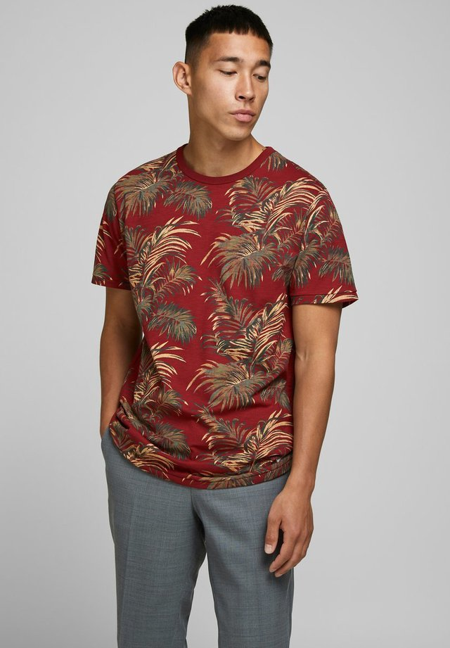 T-shirt print - red dahlia
