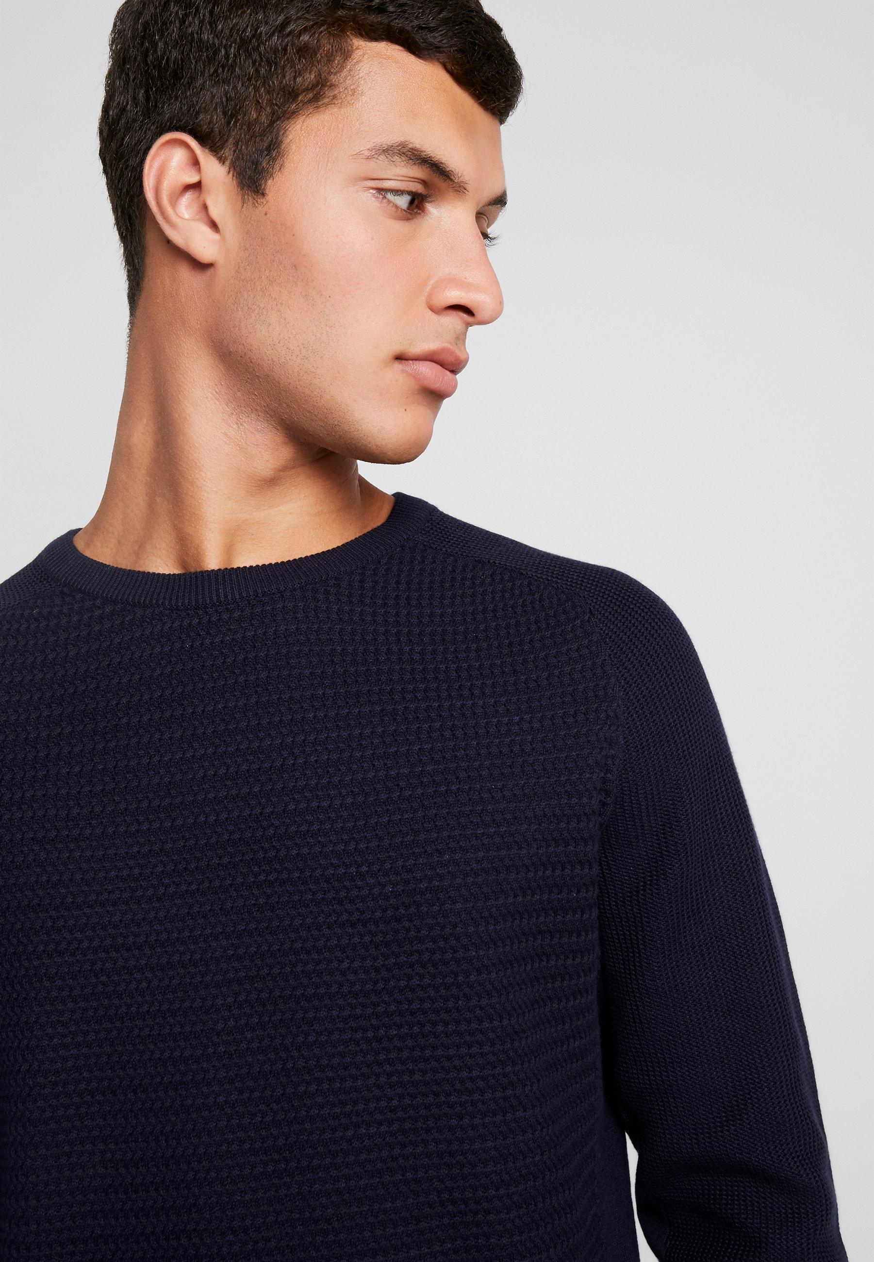 Jack & Jones PREMIUM JPRPOST CREW NECK - Sweter - maritime blue