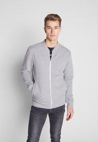 Jack & Jones PREMIUM - JPRSTEVIE SWEAT ZIP CARDIGAN - Sweatjacke - grey melange/melange - 0