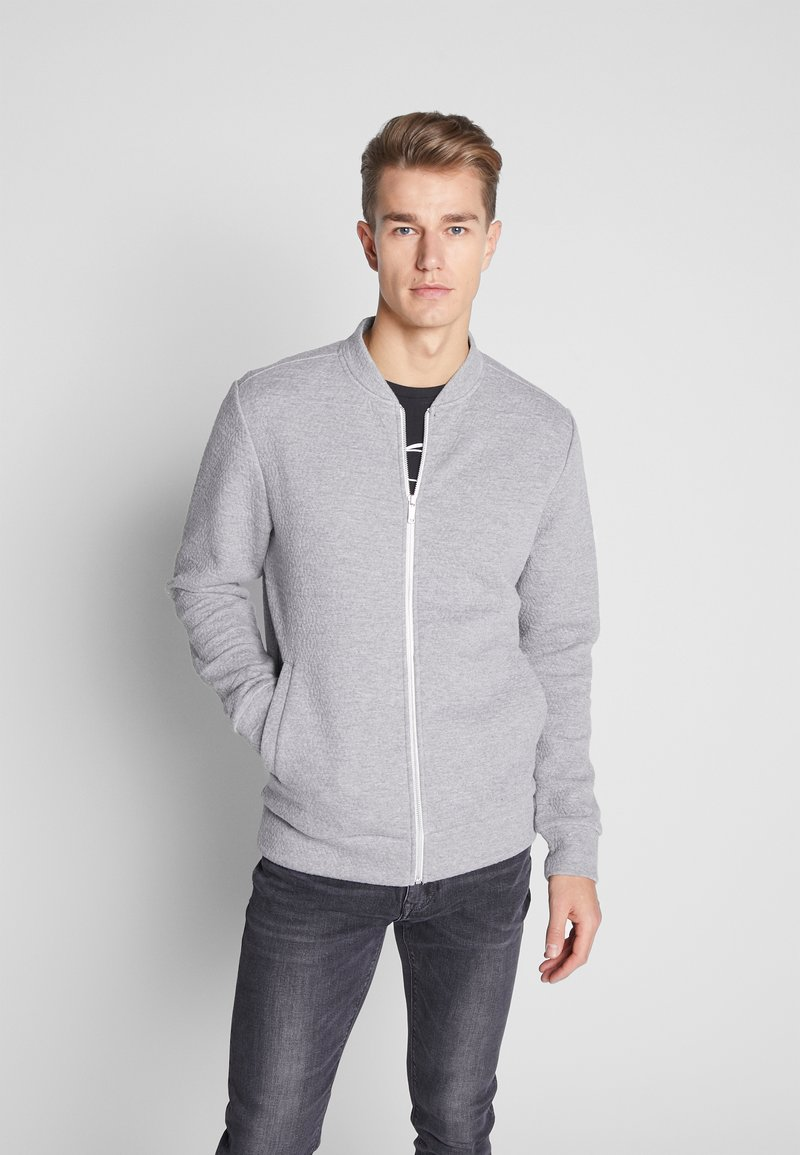 Jack & Jones PREMIUM - JPRSTEVIE SWEAT ZIP CARDIGAN - Sweatjacke - grey melange/melange