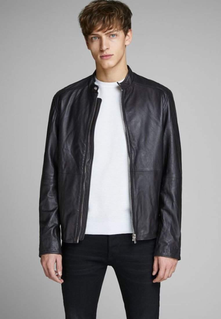 Jack & Jones PREMIUM - LEDERJACKE - Leather jacket - black