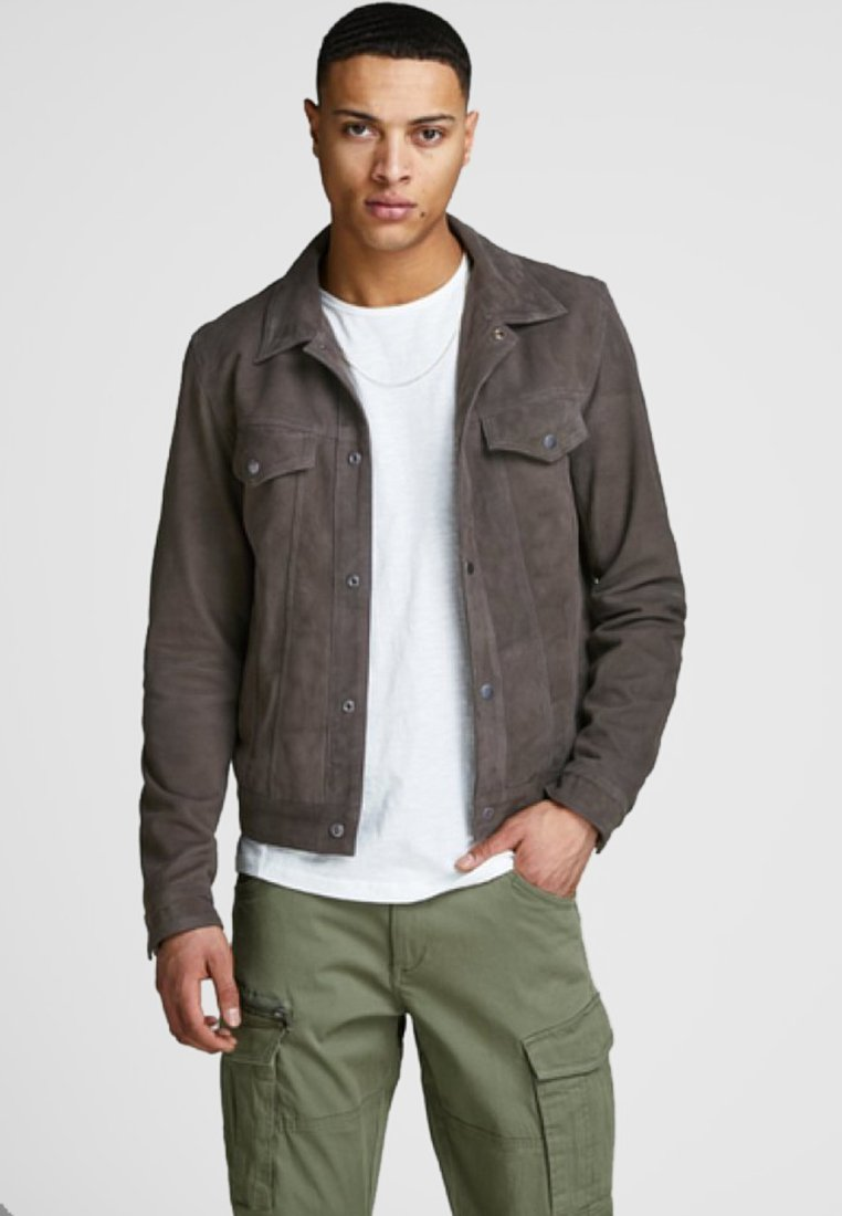 Jack & Jones PREMIUM - Lederjacke - dark grey