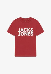 Jack & Jones Junior - JJECORP LOGO TEE CREW NECK - T-shirts med print - rio red - 2