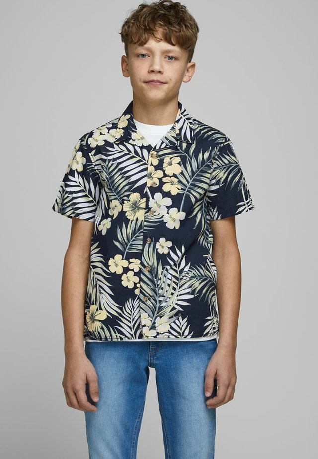 JACK & JONES JUNIOR KURZARMHEMD JUNGS TROPENPRINT - Chemise - navy blazer