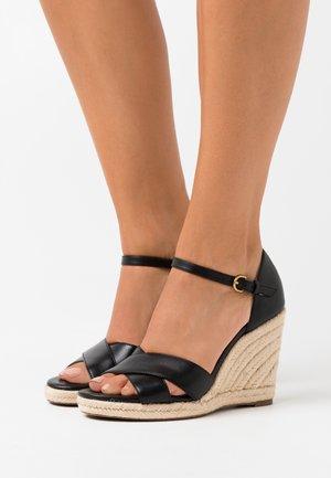 WEDGE  - High heeled sandals - black