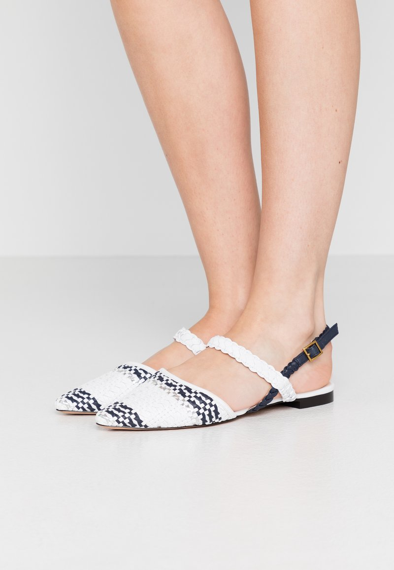 J.CREW - MARINA WITH ANKLE STRAP - Sandály - ivory/navy/silver