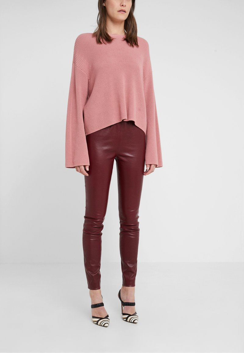 J.CREW - Leather trousers - burgundy