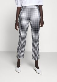 J.CREW - GEORGIE PANT IN GINGHAM WITH BUTTONS - Trousers - navy/ivory - 0