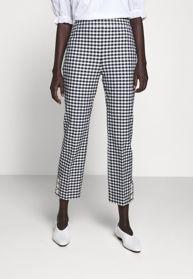 J.CREW - GEORGIE PANT IN GINGHAM WITH BUTTONS - Trousers - navy/ivory