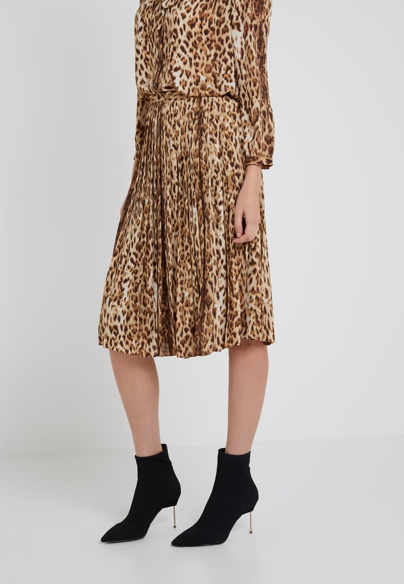 J.CREW - PLEATED SKIRT IN AMYS LEOPARD - A-line skirt - braun