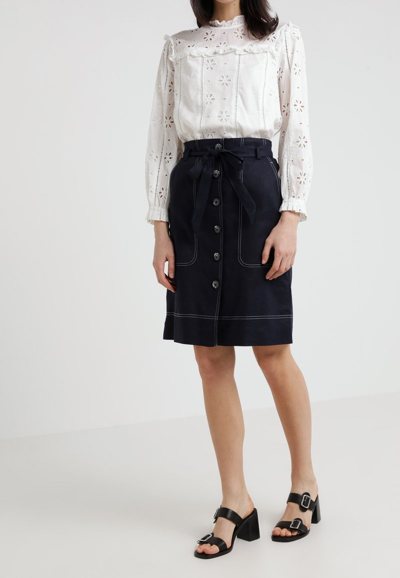 J.CREW - AVERY STRETCH TRAVELER CARGO SKIRT - A-Linien-Rock - navy