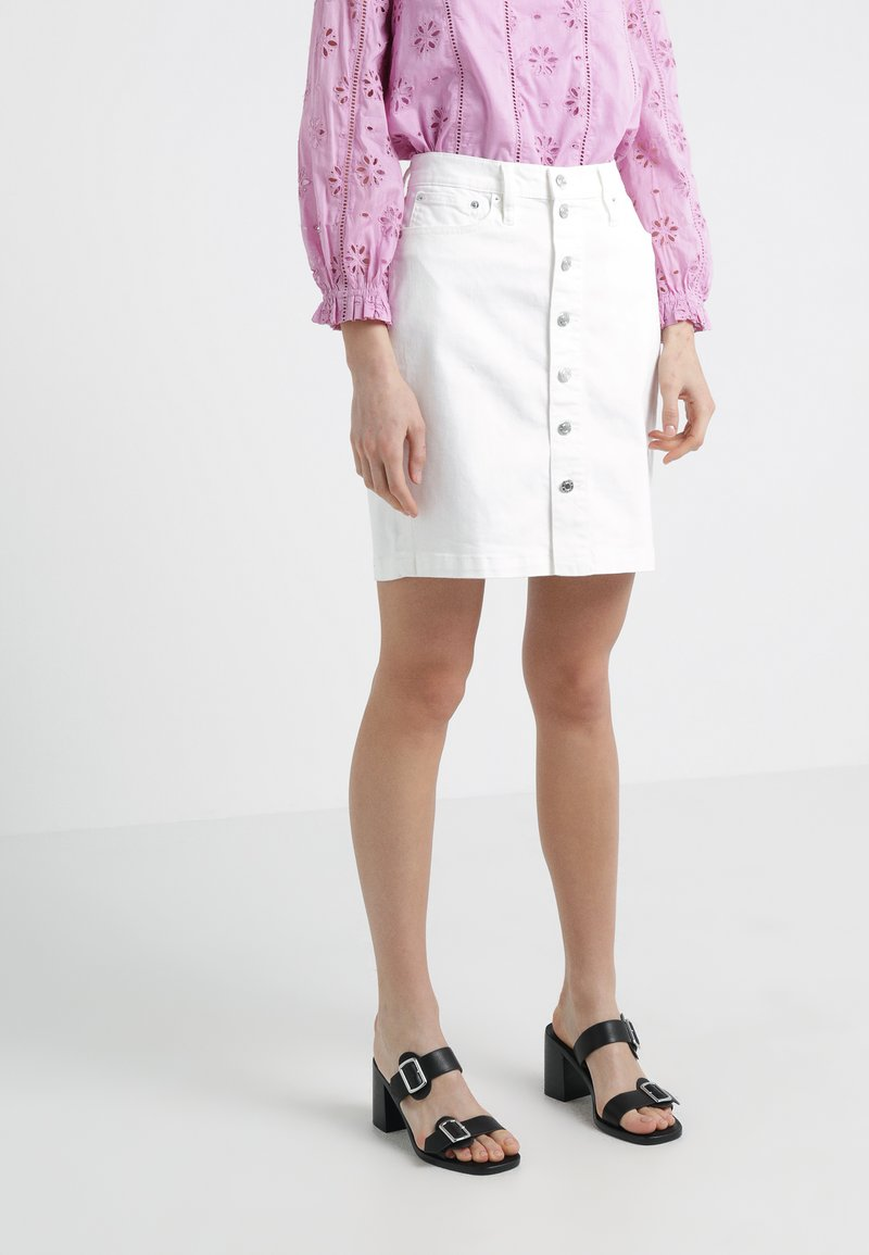 J.CREW - BUTTON FRONT SKIRT - Gonna di jeans - white