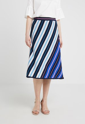 NICOLE DIAGONAL STRIPE SKIRT - A-line skirt - navy/fuchia