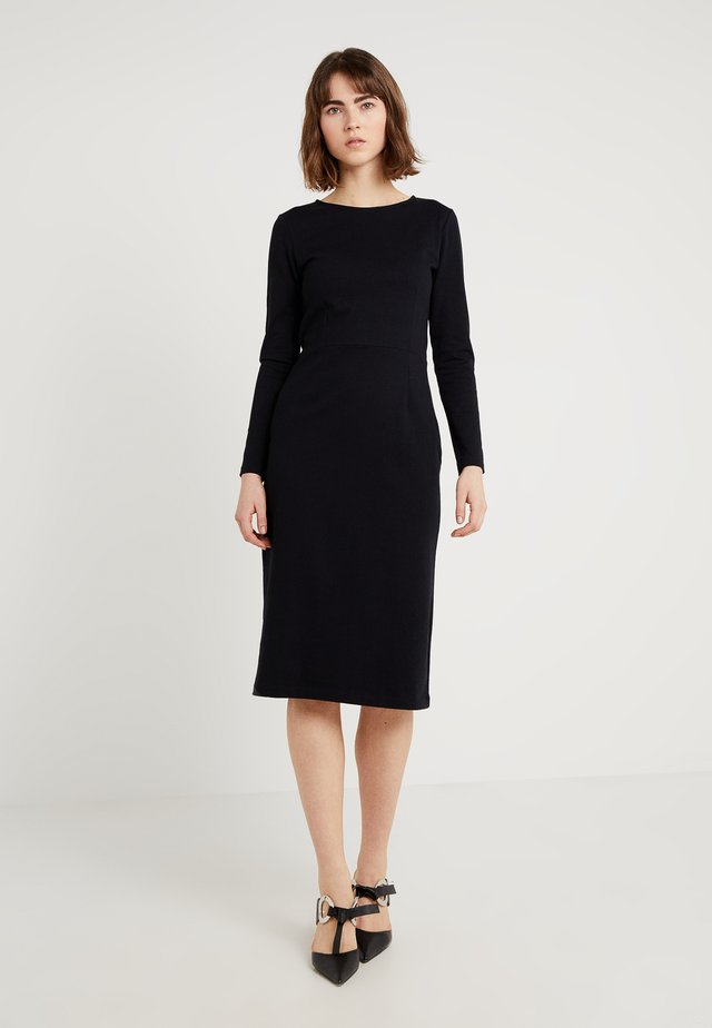 DRESS SOLID - Jerseykleid - black