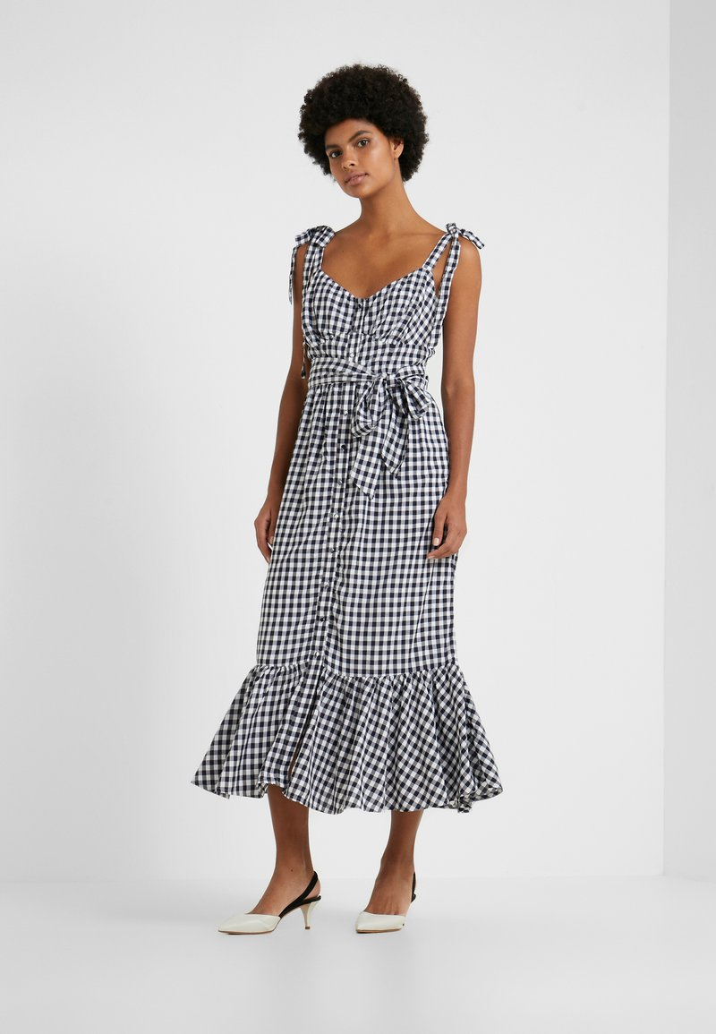 J.CREW - STRAPPY FRONT DRESS GINGHAM - Maxikleid - white/navy