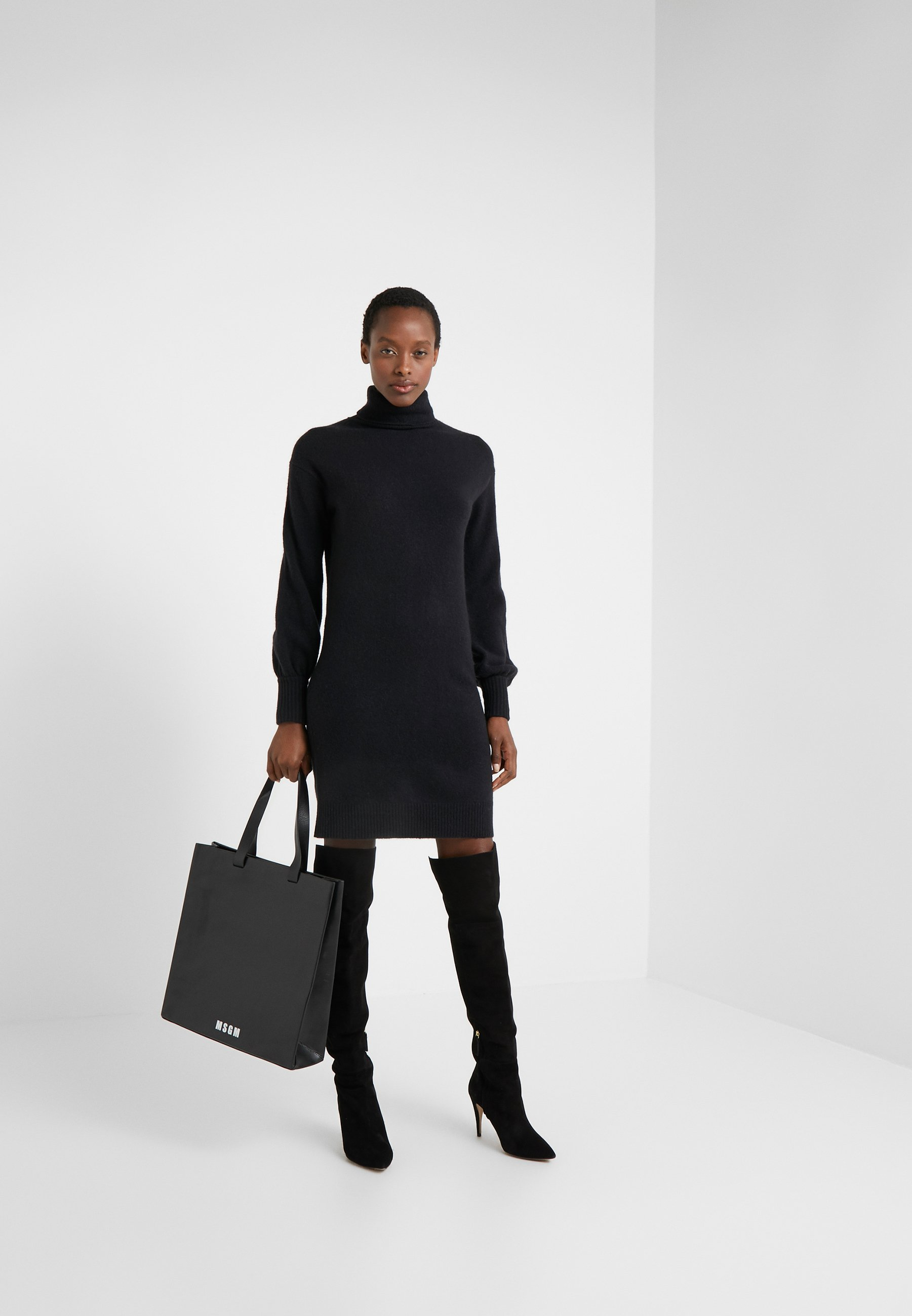 J.CREW SUPERSOFT TURTLENECK DRESS - Strikket kjole - black