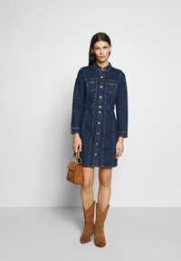 J.CREW - LONG SLEEVE DETAILS DRESS - Denim dress - serene sky blue wash - 1
