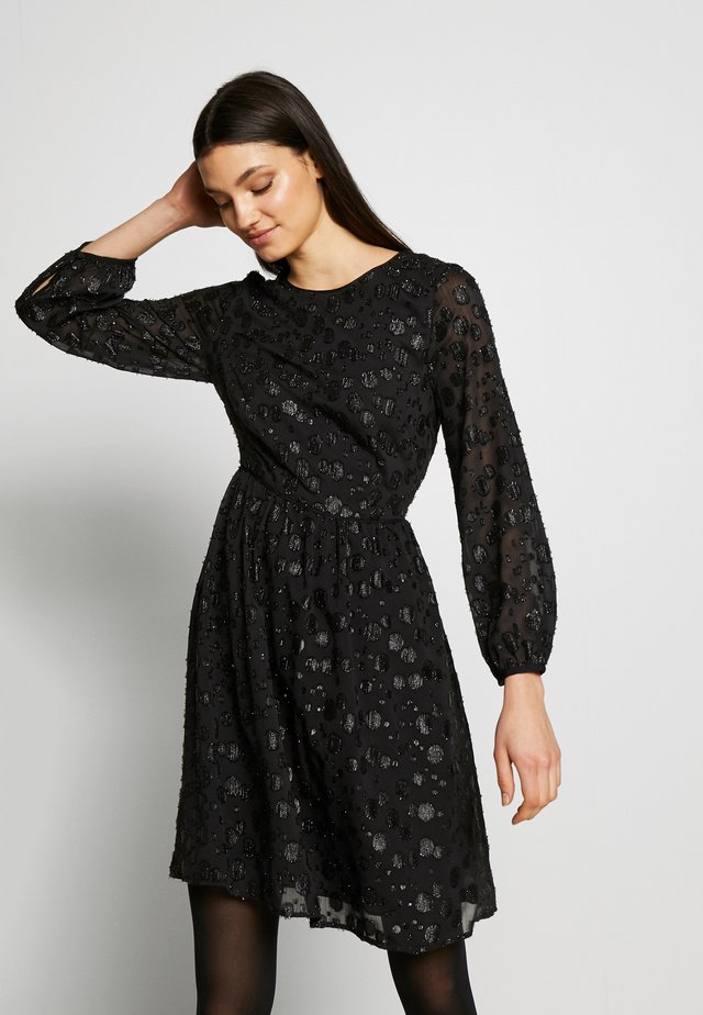 LANA LEOPARD DRESS - Juhlamekko - black