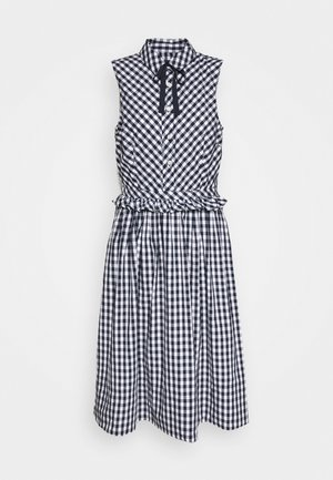 JO DRESS GINGHAM - Skjortklänning - white/navy