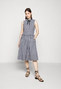 J.CREW - JO DRESS GINGHAM - Shirt dress - white/navy - 0