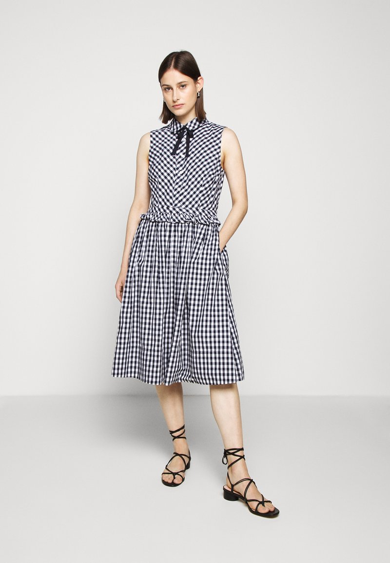 J.CREW - JO DRESS GINGHAM - Shirt dress - white/navy